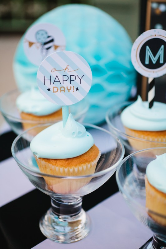 confetti party, cupcake toppers, cupcakes in glasses, black and white, gold