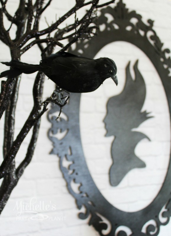 Maleficent party black sparrow bird branches