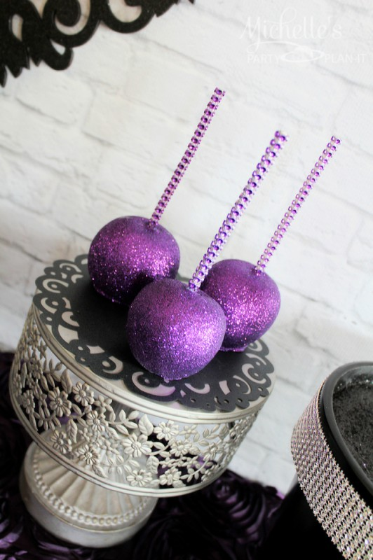 Maleficent party glittered candy apples purple