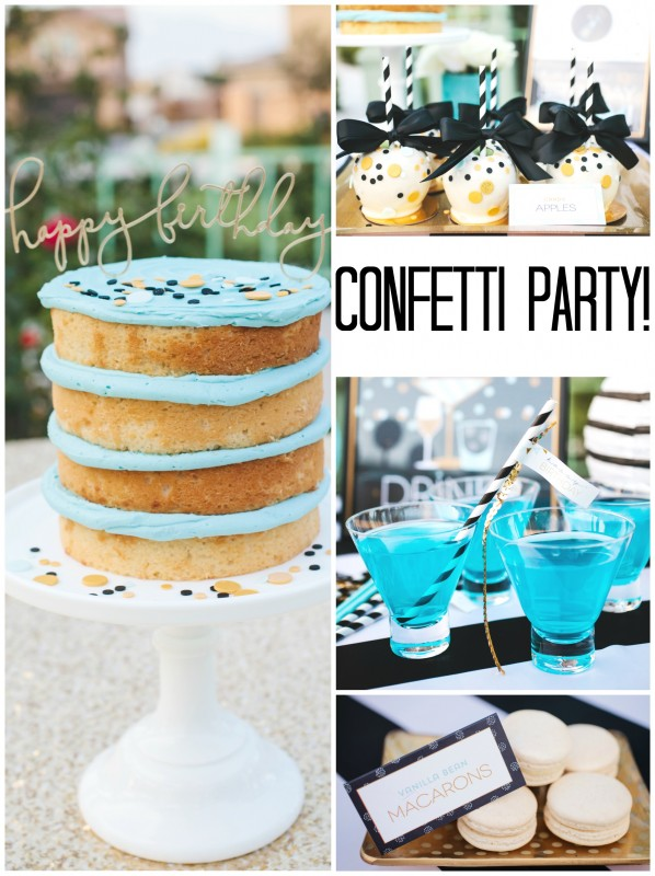 Confetti party collage, birthday cake, candy apples, macarons