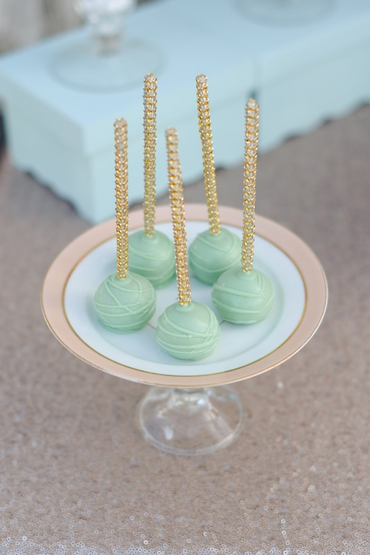Rustic Glam Wedding Mint Cake Pops Gold Sequin Sticks