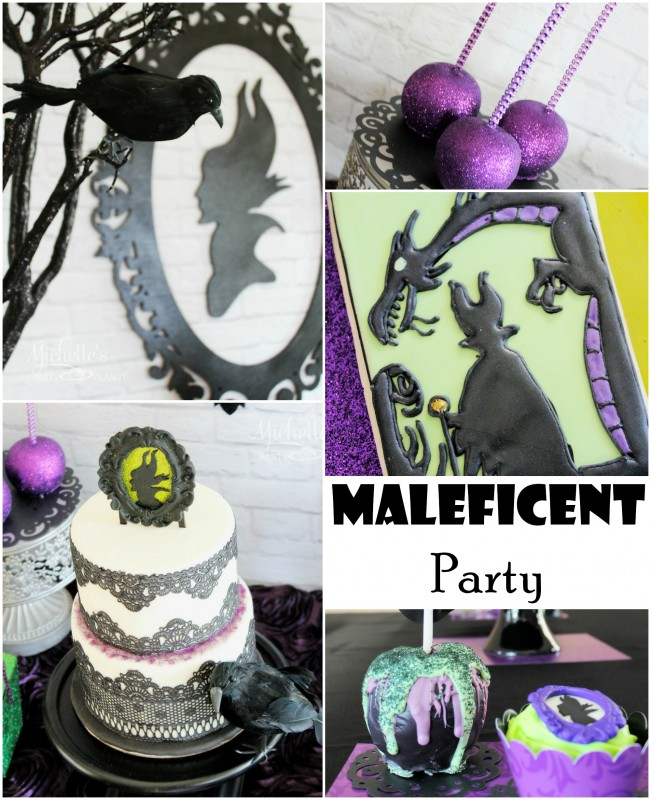 Maleficent party collage candy apples glittered frame silhouette lace cake