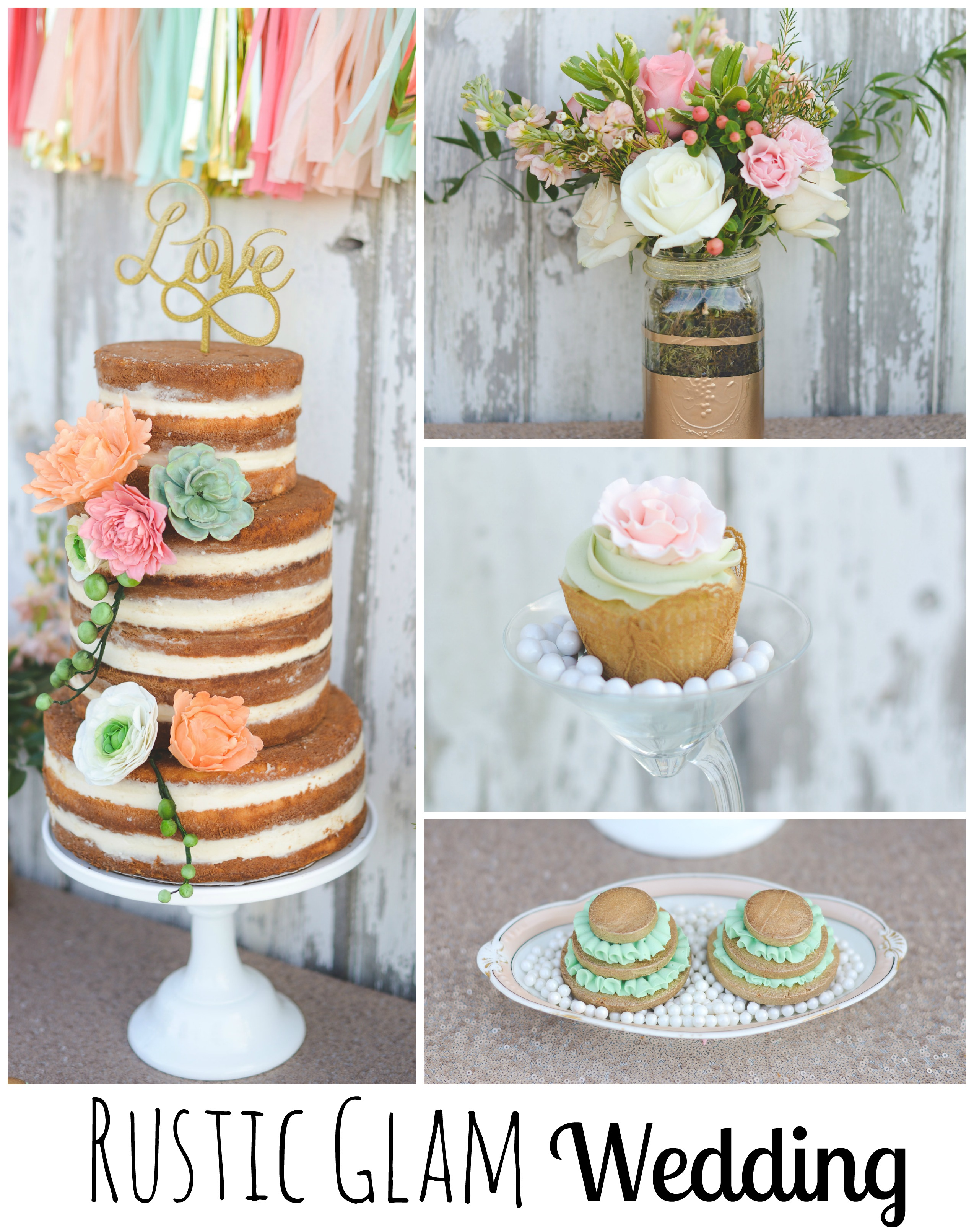 Rustic Glam Wedding Collage Flitter Gold Flowers Cake Cupcake Mint Peach
