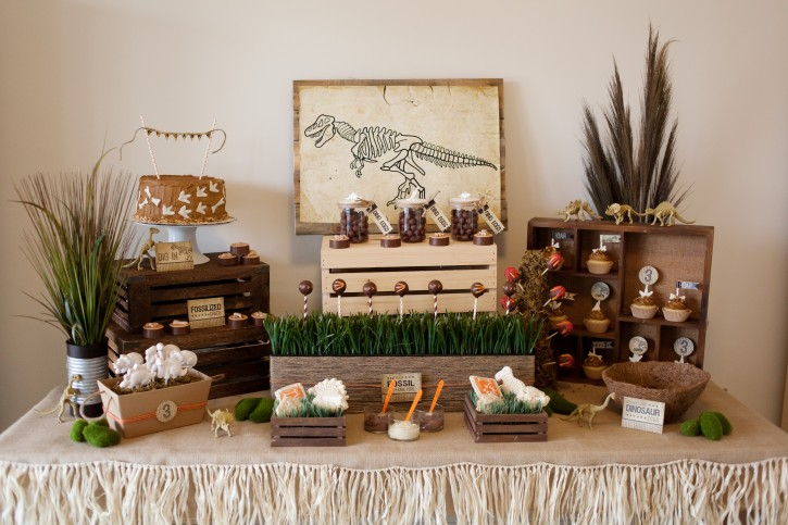 Dinosaur Party, Dessert Table set up