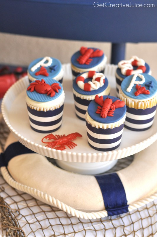 Nautical Birthday Crab and Lobster Fondant cupcake toppers