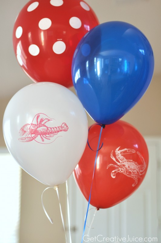 Nautical Lobster and Crab balloons