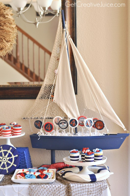 Nautical Party Favor Display with Sailboat
