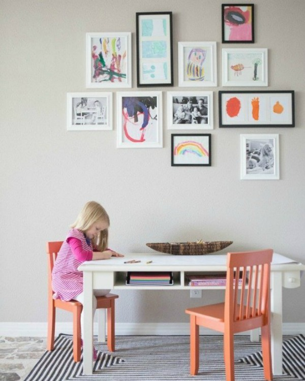 DIY Gallery Walls with Kids Artwork | @mindy_cone | getcreativejuice.com