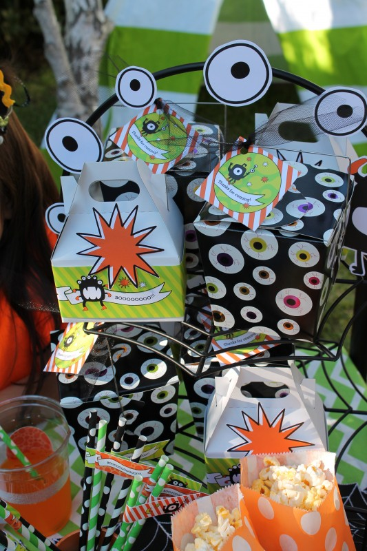 Monster Mash, Halloween, googly eyes, boo, favor boxes, polka dot stripe straws, popcorn bags