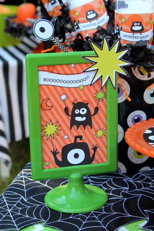 Monster Mash, Halloween, googly eyes, boo water bottles, signs