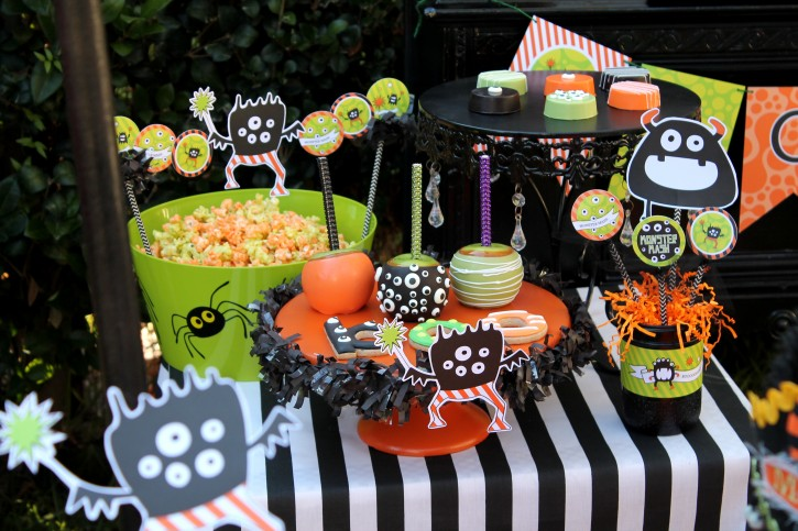 Monster Mash, Halloween, googly eyes, boo cookies, popcorn, chocolate covered apples, glittered mason jars, centerpieces, banners