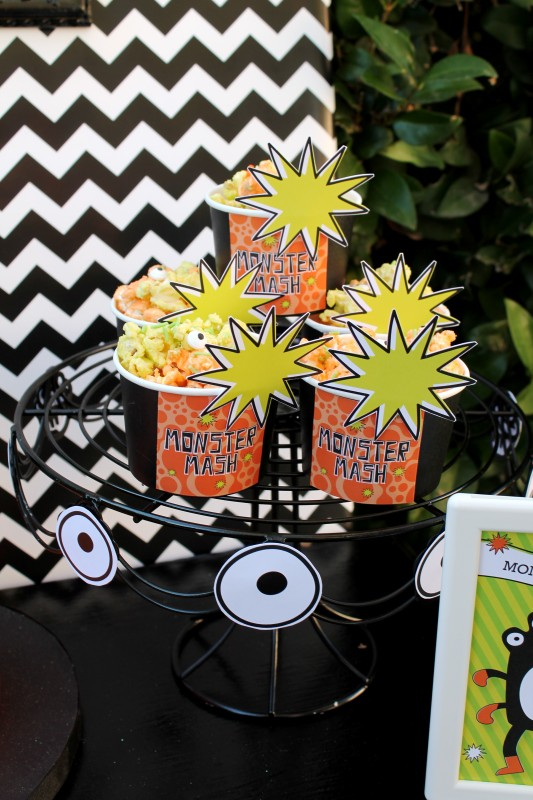 Monster Mash, Halloween, googly eyes, boo, popcorn cups