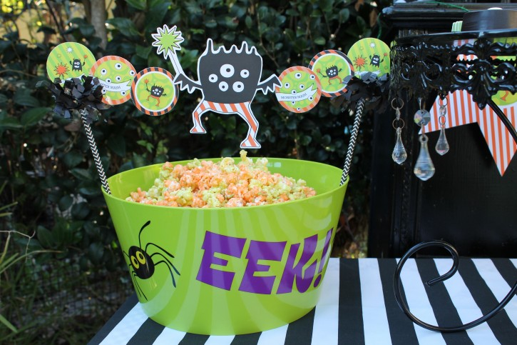 Monster Mash, Halloween, googly eyes, eek, popcorn bowl, monster banner