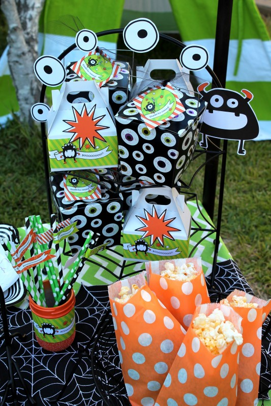 Monster Mash, Halloween, googly eyes, favor boxes, popcorn bags
