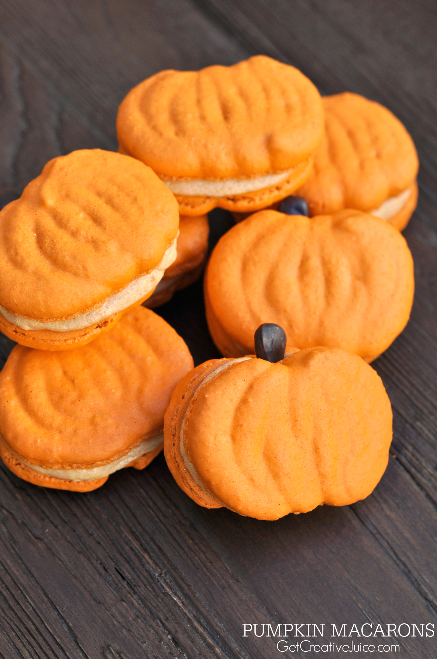 Pumpkin Macarons - Recipe, Tutorial, and Printable Template