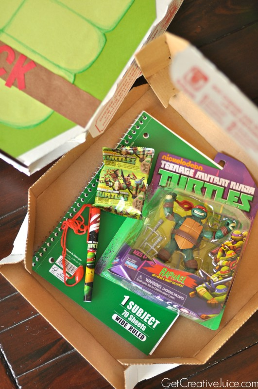 TMNT party favor boxes - use pizza boxes!