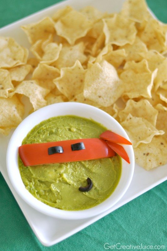 TMNT party food - Ninja Turtle Guacamole and chips!