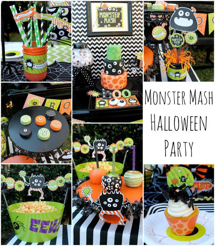 monster mash halloween party, collage, cake, boo, googly eyes, eyeballs, cupcakes, glittered mason jars, chocolate covered oreos