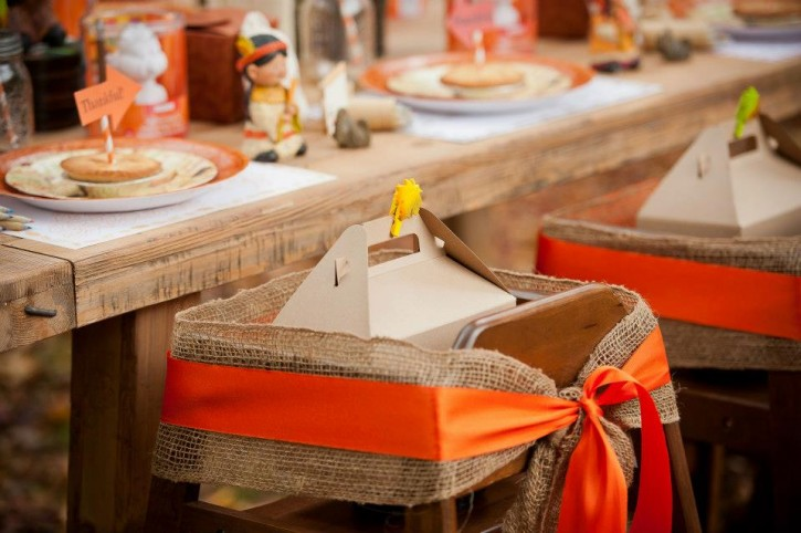 Rustic backyard kids thanksgiving, high chair, favor box, burlap