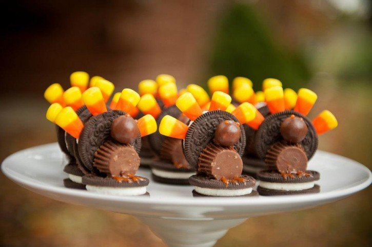 Rustic backyard kids thanksgiving, DIY turkey cookies, oreos and candy corn