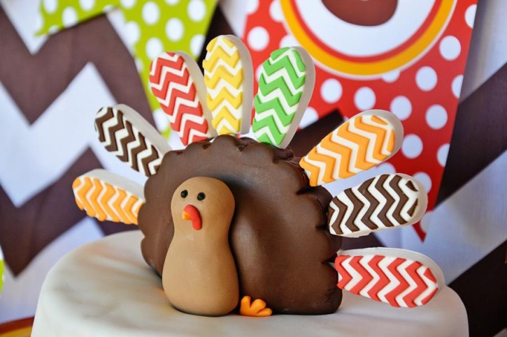 2 Crafty Kids Chevron Thanksgiving, Fondant Turkey Cake Topper