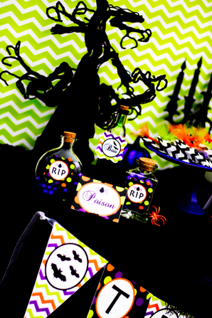 spooktacular halloween party,  poison candies, black trees, spiders, chevron, bats