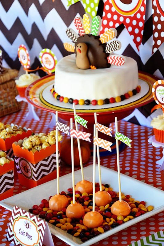 3 Crafty Kids Chevron Thanksgiving, Table Set up, Turkey Cake, cake pops, candy platters