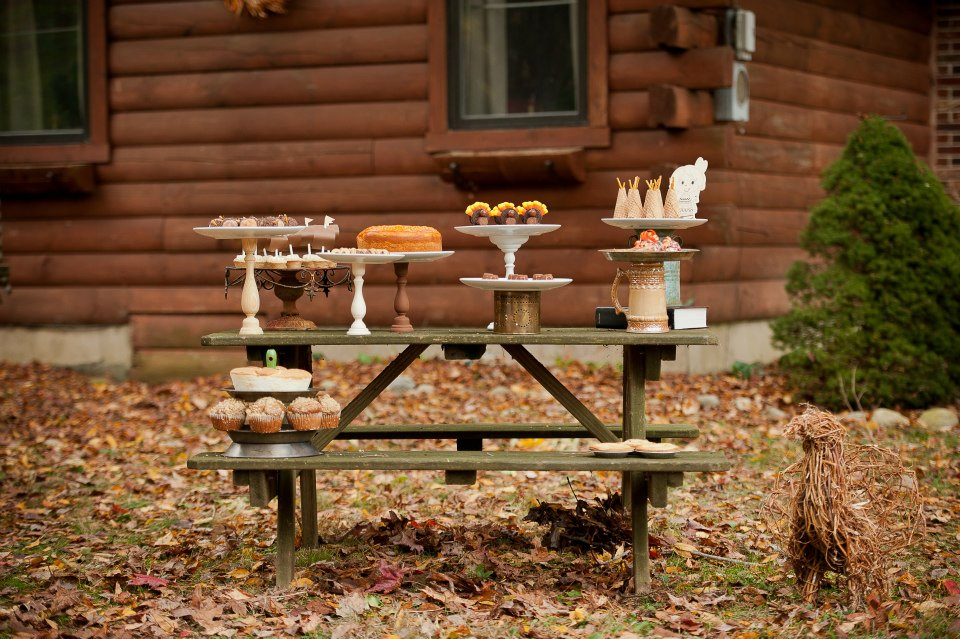 rustic backyard kids thanksgiving dessert table picnic table
