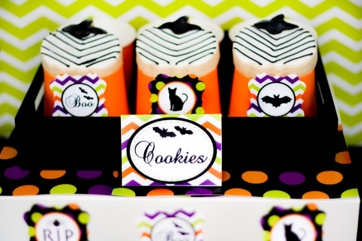 spooktacular halloween party, chevron cookie tent, black bats, black cats, cupcake wrapper, chocolate covered oreos