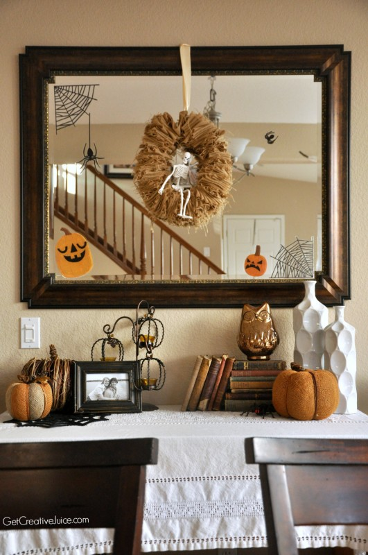 Halloween home tour - mirror decorations and tabletop ideas