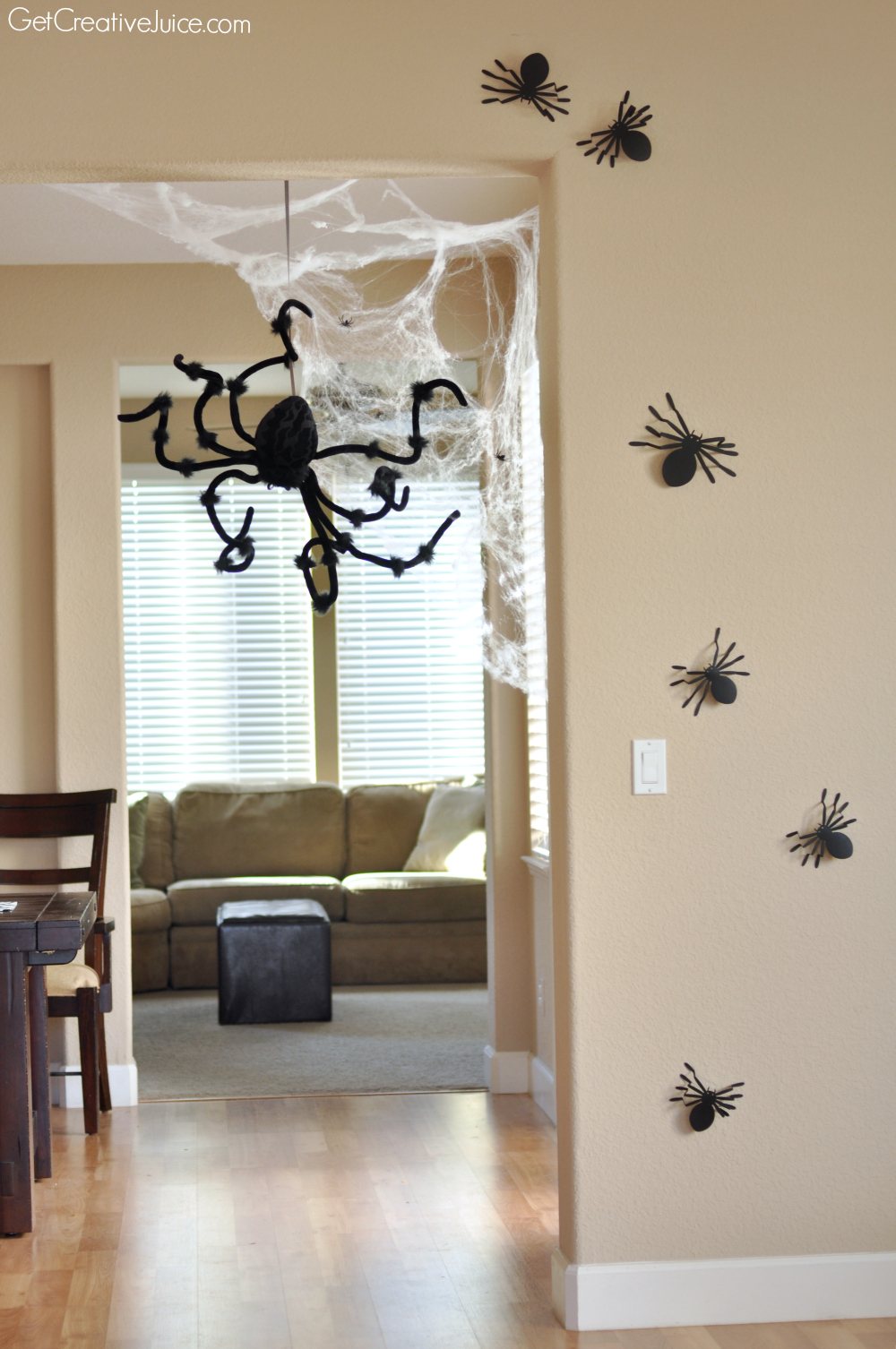 hanging spider web and 3d wall spiders halloween decoration ideas for your home - Quick Halloween Decorations