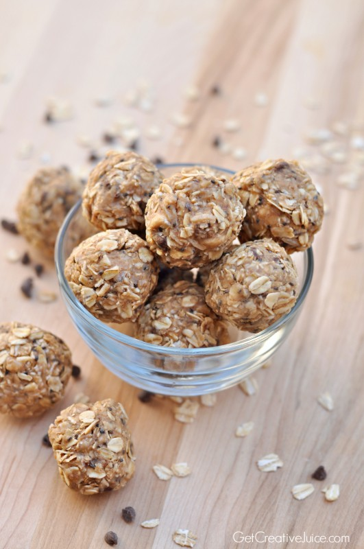 Peanut butter oatmeal healthy granola energy bites! Easy and No bake!