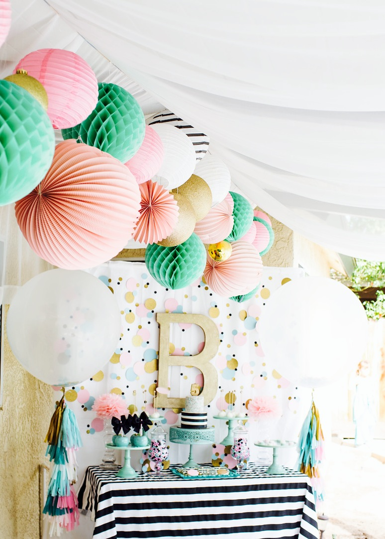 Cue the confetti modern bright birthday party for Baby party decoration