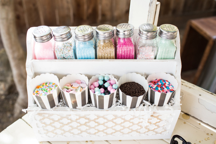 Cue the Confetti Party, sequins, stripes, glitter, tassels, cupcake decorating station, sprinkles