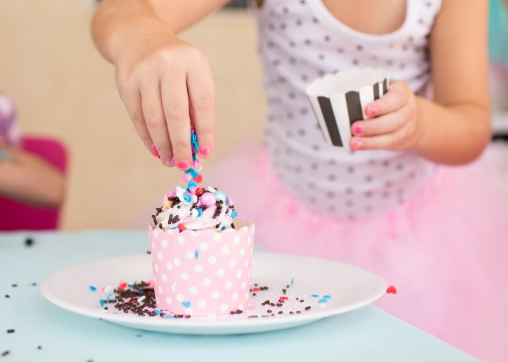 Cue the Confetti Party, sequins, stripes, glitter, tassels, sprinkles, cupcakes, cupcake wrapper
