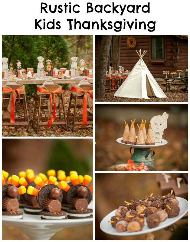 Rustic Backyard Kids Thanksgiving collage