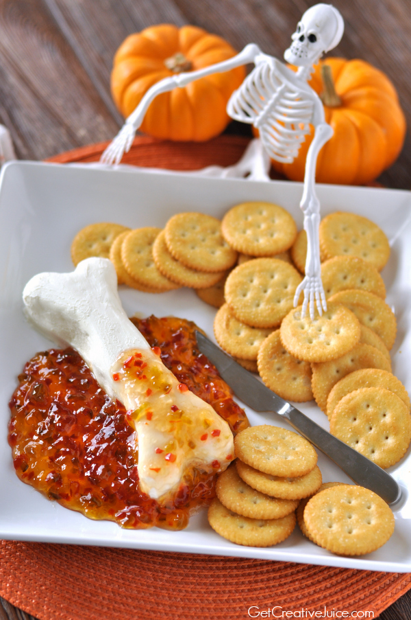 Skeleton Bone Halloween Appetizer - super easy only 2 ingredients! Cream cheese pepper jelly dip