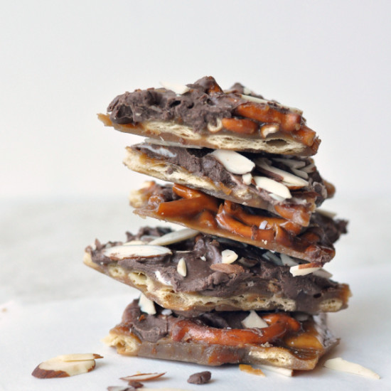 Holiday Cracker Toffee Bark With Chocolate and Almonds