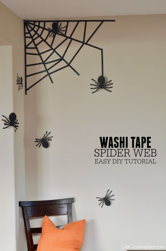 Washi Tape Spider Web for your Wall - easy DIY tutorial