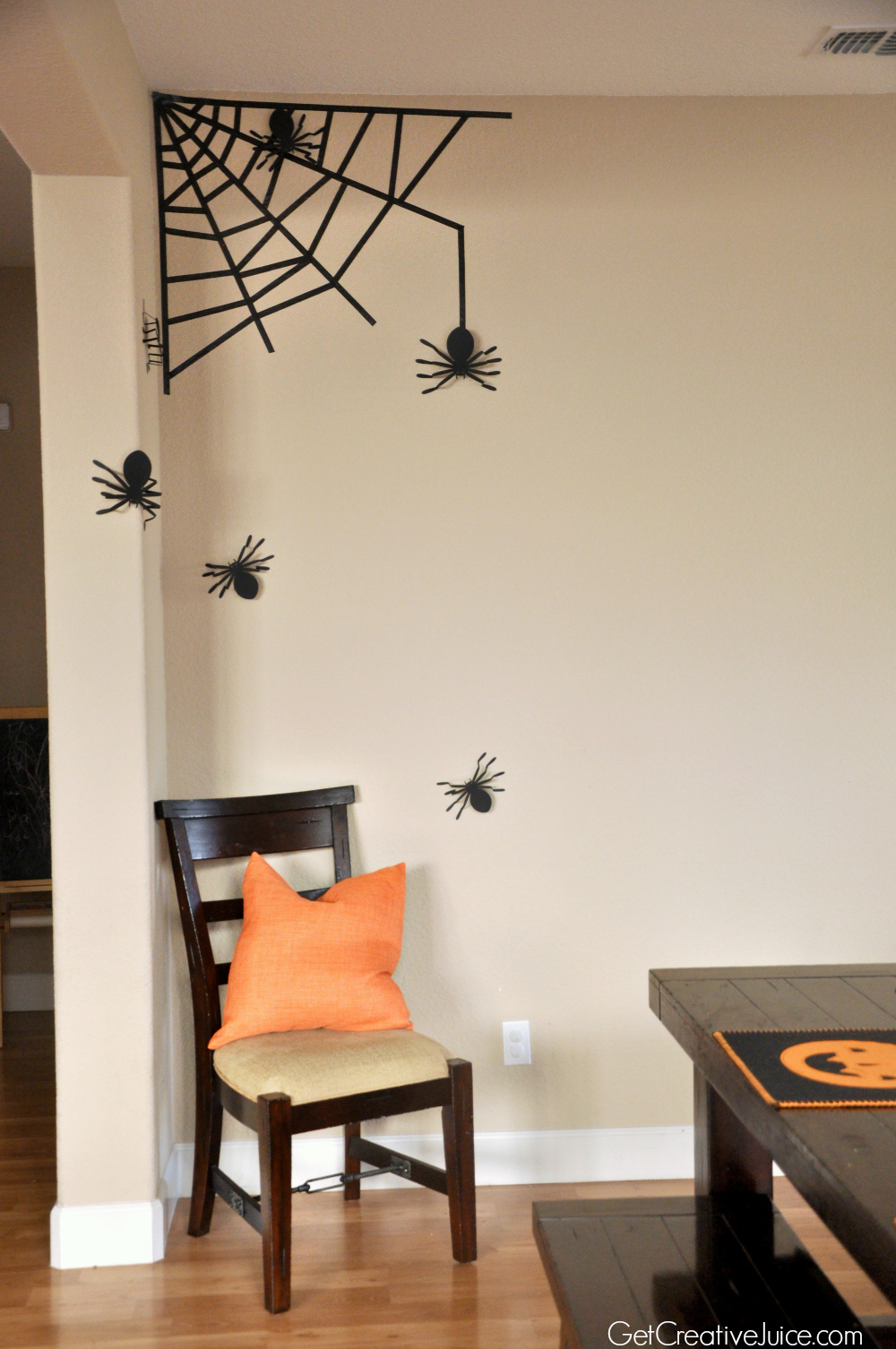 Cute halloween decorations to make -  Washi Tape Spider Web Wall Decor Easy Fast Diy Halloween Decoration