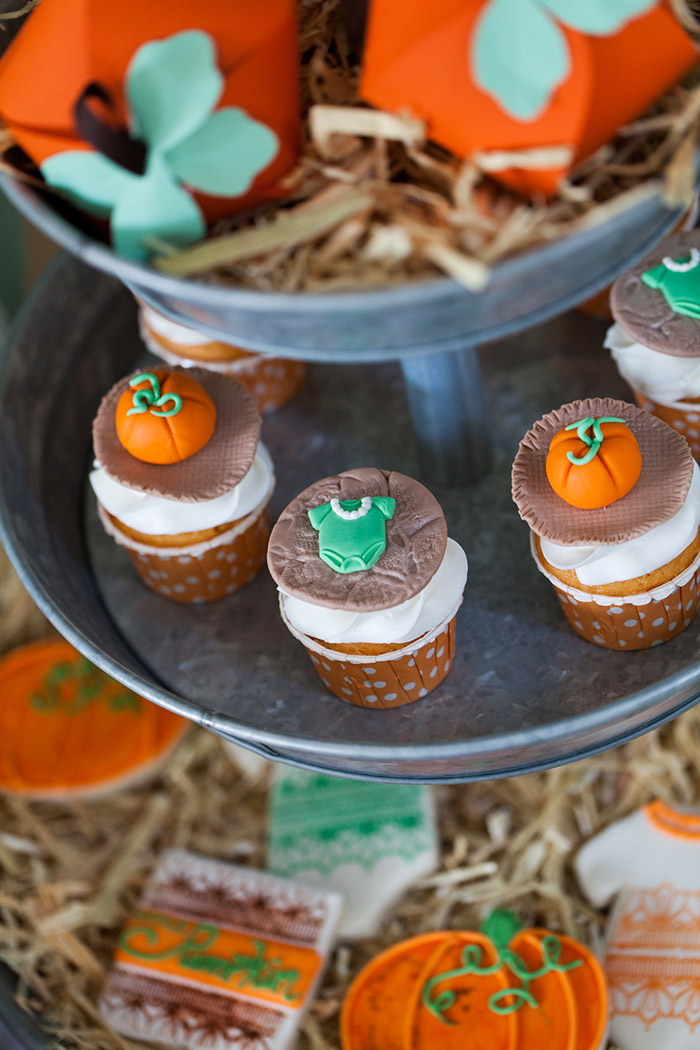 ... Rustic Fall Little Pumpkin Baby Shower, Cupcakes With Onesie And  Pumpkin Fondant Toppers ...