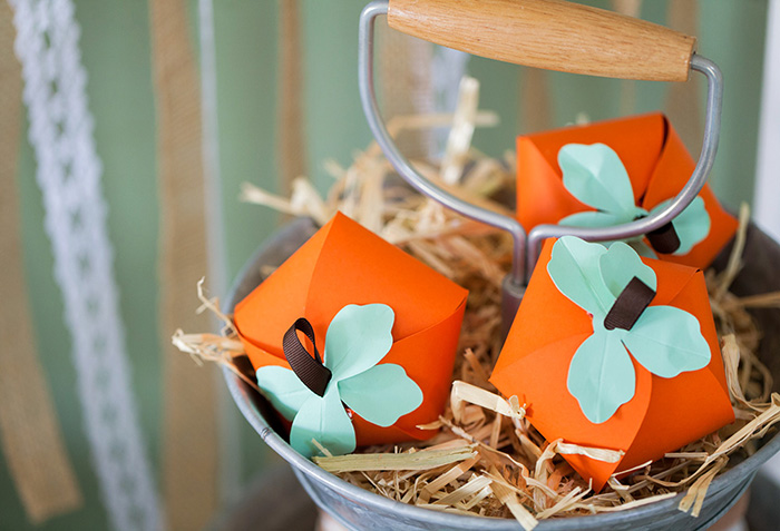 Rustic Fall Little Pumpkin Baby Shower, pumpkin favor boxes