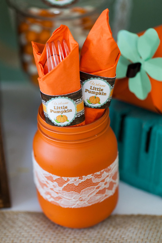 Rustic Fall Little Pumpkin Baby Shower, painted mason jar with lace, little pumpkin wrapped label utensils
