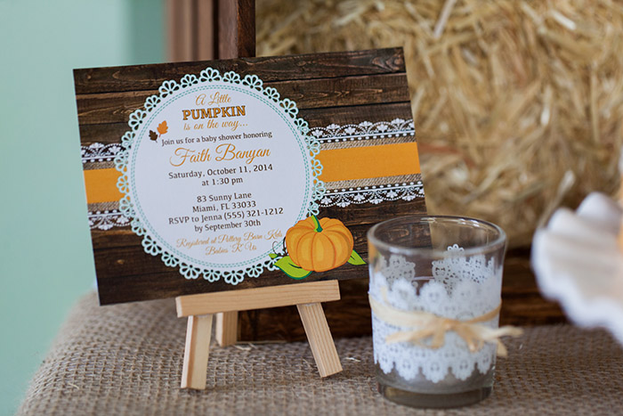 Rustic Fall Little Pumpkin Baby Shower, Little pumpkin invitation, votive candle with lace