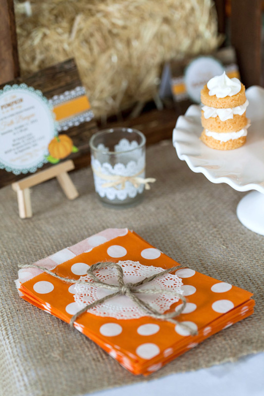 Rustic Fall Little Pumpkin Baby Shower, mini baby naked cakes, glass votive with lace, little pumpkin invitation, orange and white polka dot paper bags