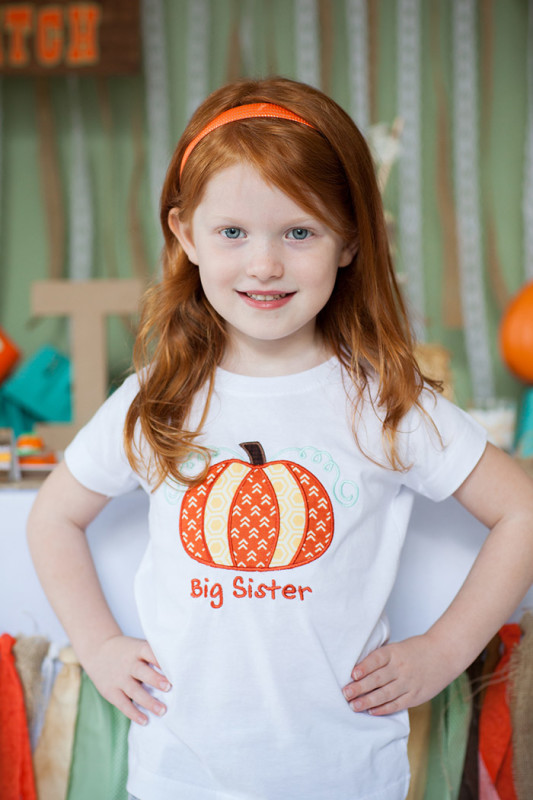 Rustic Fall Little Pumpkin Baby Shower, Big Sister pumpkin applique t shirt