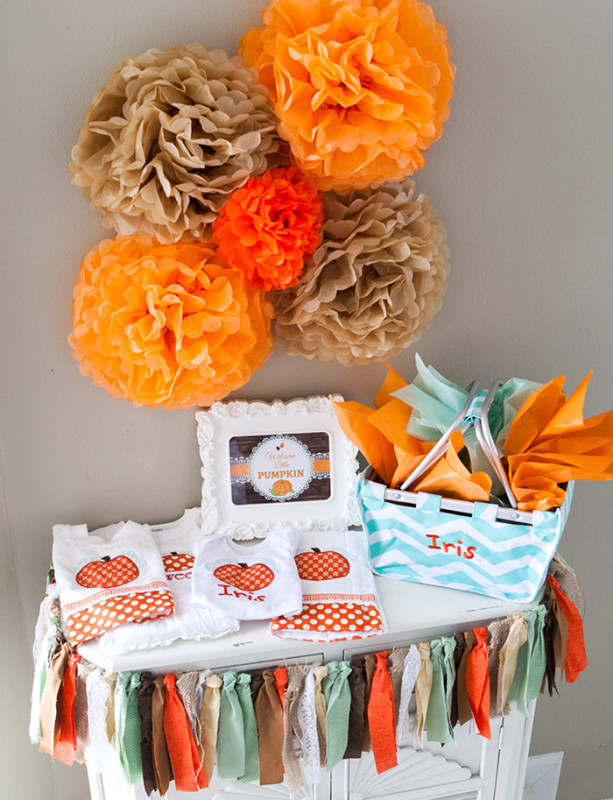 Rustic Fall Little Pumpkin Baby Shower, pumpkin and chevron burp rags and onesies, chevron basket, fall poms, fabric banner
