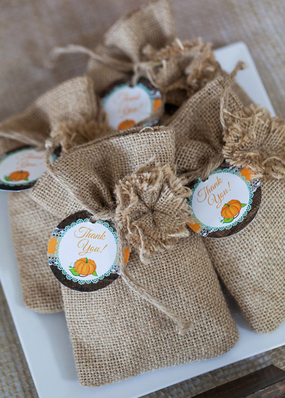 Rustic Fall Little Pumpkin Baby Shower, Burlap sack party favors