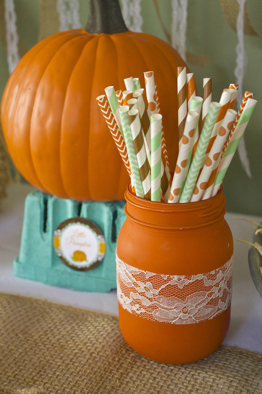 Rustic Fall Little Pumpkin Baby Shower, painted mason jars, stripe chevron polka dot colored straws, pumpkin