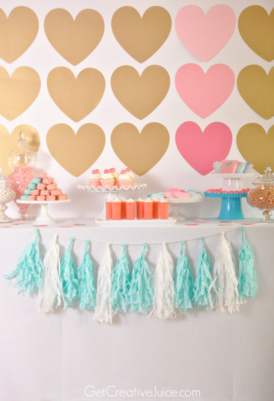 Gold and Pink Hearts and Macaron Dessert Table